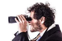 Looking through binoculars Royalty Free Stock Photo