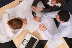 Looking at blueprints Stock Images