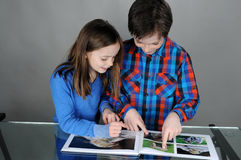 Looking a book. Siblings looking together at a book with animals Royalty Free Stock Images