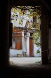 Looking into a bright courtyard through a doorway in Baku, capital of Azerbaijan Stock Photography