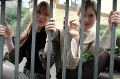 Looking into the cage. Two young woman looking happily through bars royalty free stock photos