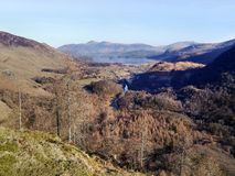 Looking from Castle Crag to Keswick way Royalty Free Stock Photo