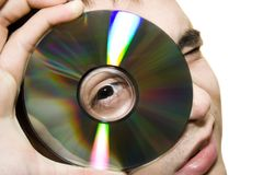 Looking at the cd Stock Photos