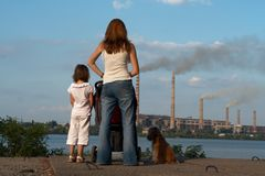 Looking at the chimney-stalks Stock Image