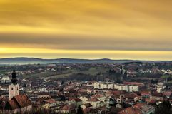 Looking on the city of Pakrac from above. Looking on the city of Pakrac from above in sunset time. Winter is coming Stock Photo