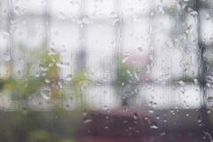 Looking through the clear glass to the outside while it rain. 