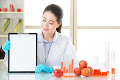 Looking clipboard to recording gmo food test result. In laboratory stock photo
