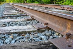 Closeup of railroad spikes and ties Royalty Free Stock Photo