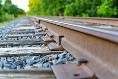 Closeup of railroad spikes and ties Royalty Free Stock Photography