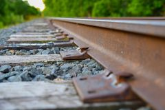 Closeup of railroad spikes and ties Stock Photography