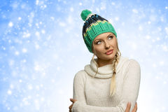 Looking cold beautiful woman Stock Images