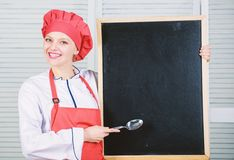 Looking for colleagues. Staff wanted. Woman chef hat apron hold blackboard copy space. Chef job position. Cooking royalty free stock photography
