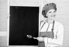Looking for colleagues. Staff wanted. Woman chef hat apron hold blackboard copy space. Chef job position. Cooking. Delicious meal step by step. Cooking menu for stock photos