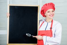Looking for colleagues. Staff wanted. Woman chef hat apron hold blackboard copy space. Chef job position. Cooking. Delicious meal step by step. Cooking menu for stock images