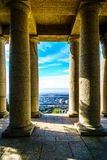 Looking between the columns of the Cecil Rhodes monument in Cape Town Royalty Free Stock Photo