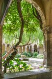 Looking into the courtyard at the Cloister of Saint Francis, Sorrento. Looking through a vaulted arch into the central courtyard at the twelfth-century Cloister Royalty Free Stock Images