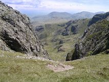 Looking from Crinkle Crags with Great Langdale below to the left Stock Image