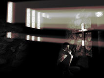 Looking at the cross. A man sat near a cross lighted up by the sun rays, is looking at it Stock Photography