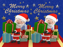 3D Render stereogram of Merry Christmas Santa Claus. Looking at by the crossing method of stereoscopic view, every elements protrude in three dimensions and Royalty Free Stock Images