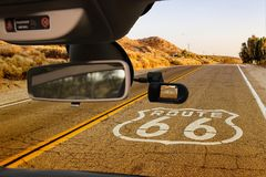 Car camera view of the Historic Route 66, California, USA. Looking through a dashcam car camera installed on a windshield with view of the Historic Route 66 royalty free stock image