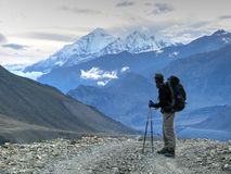 Looking at Dhaulagiri on evening - Nepal stock photos