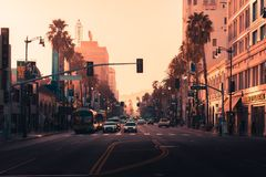 LA, USA - 31st October 2018: Hollywood at sunset royalty free stock photo