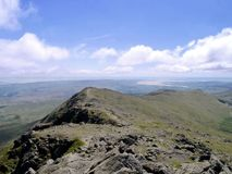 Looking from Dow Crag along ridge to the sea Stock Image