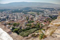 Modern Athens and Temple of Zeus from the Acropolis royalty free stock photos