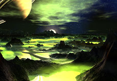 Lime Green Alien Landscape royalty free stock photography