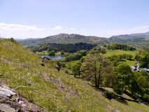 Looking down and across to Loughrigg Tarn, Lake District Royalty Free Stock Photo
