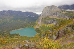 Looking Down at an Alpine Lake in the Fall Royalty Free Stock Images