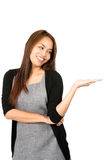 Looking Down Asian Woman Hand Out Showing Product Royalty Free Stock Photography