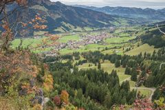 Looking down at Bad Hindelang. From the Oberjochstrasse Stock Image