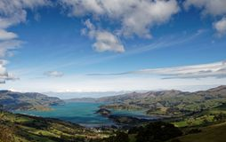Looking down on Banks Peninsula, Akaroa Harbour, New Zealand royalty free stock photo