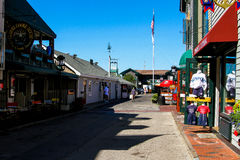 Looking down Bannisters Wharf, Newport, Rhode Island. Stock Images