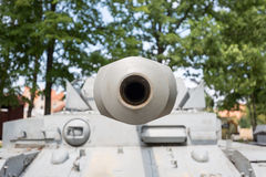 Looking down the barrel of a tank Stock Image