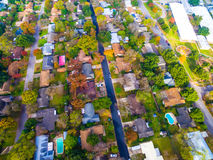 Looking down Birds Eye View on Historic Homes in Austin , Texas Stock Photos