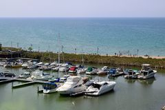 Looking down on the boats from the top of the Kincardine lighthouse stock images