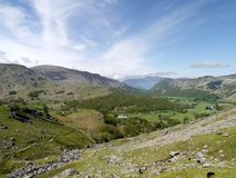 Looking down the Borrowdale valley from The Combe Stock Photo
