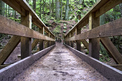 Looking down a Bridge. Walking over a bridge on a hiking trail Stock Image