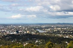 Looking down on Brisbane Australia CBD and Brisbane River from Mt Cootha overlook stock images