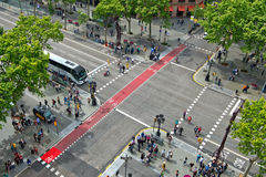 Looking Down at Busy Barcelona Street Intersection Stock Photography
