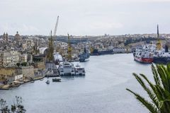 Malta, the Grand Harbour at Senglea. This Busy port. Looking down on the busy port of the Grand Harbour, Malta/ To the left is the historic town of Senglea Royalty Free Stock Photo