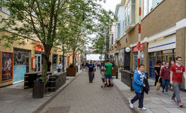 Looking Down Bute Street. Wales, Cardiff - May 28, 2017: Looking Down Bute Street, Stryd Bute in Wales Language Royalty Free Stock Photo