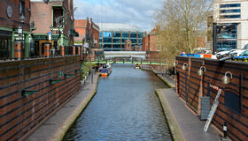Looking Down Canalside Walk A Birmingham Royalty Free Stock Photos