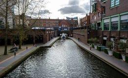 Looking Down Canalside Walk C Birmingham Royalty Free Stock Photo