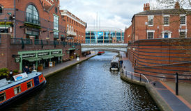 Looking Down Canalside Walk D Birmingham Royalty Free Stock Photography