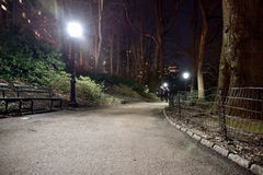 Looking down at city park path lit with a lamp post at 8 Royalty Free Stock Photo