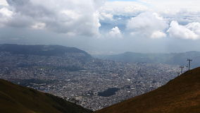 Looking down at the city of Quito stock video footage