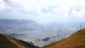 Looking down on the city of Quito, Ecuador stock footage